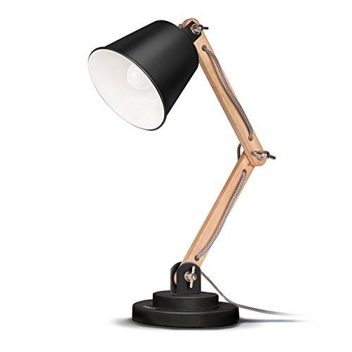 Tomons-schwenkbare-Schreibtischlampe-Leselampe-Retro-Design-fr-Schreibtisch-und-Nachttisch-Designer-Lampe-fr-Arbeitszimmer-Bro-Schlafzimmer-und-Wohnzimmer-inkl-E27-LED-Leuchtmittel-Schwarz