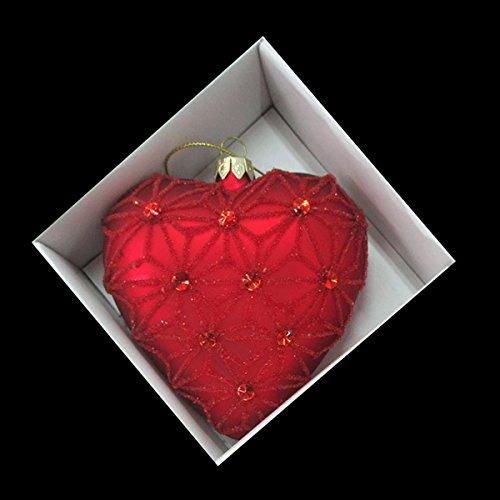 Red Glass Heart Glittered and Jeweled Ornament C9894 Kurt Adler
