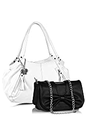 Butterflies Women's Trendy Combo Handbag (White and Black) (BNS CB038)