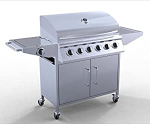 FoxHunter Garden Outdoor Portable BBQ Gas Grill Stainless Steel 6 Burner Barbecue Barbeque + 1 Side Burner With Thermometer New
