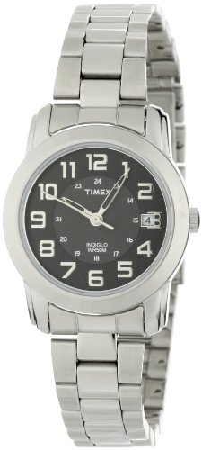 Timex Ladies Quartz Watch with Black Dial Analogue Display and Silver Stainless Steel Bracelet - T2N433PF
