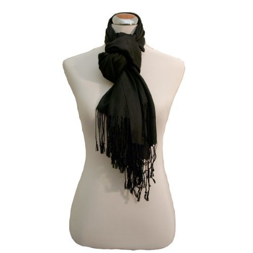 Juicy Sateen Black Pashmina Wrap