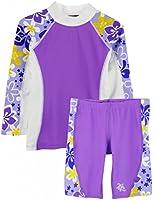 Tuga Girls UPF 50+ Shoreline L/S Rashguard and Jammer Short (UV Sun Protective)