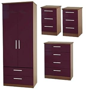 high gloss bedroom furniture set2 aubergine