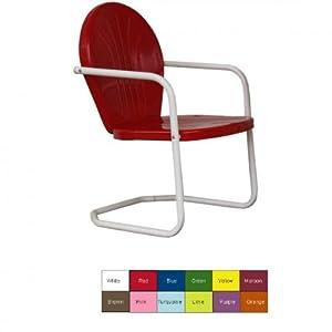 """Retro Metal Lawn Chair (Lime) (34""""H x 24""""W x 25""""D)"""