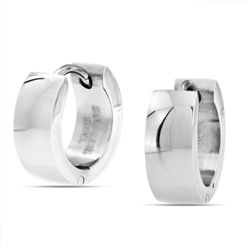 Bling Jewelry Plain Stainless Steel Hinged Hoop Mens Huggie Earrings
