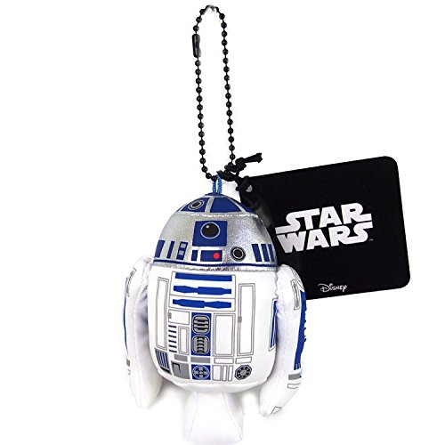 Japan Disney Official Star Wars the Force Awakens - R2-D2 White Head Mascot Soft Plush Stuffed Toys Cushion Doll Plushie Ball Key Chain Strap Charm String Phone Ring Holder Accessory Takara Tomy Arts