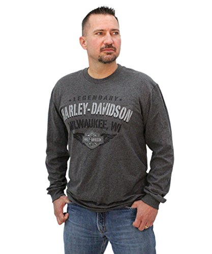 Harley-Davidson Mens Milwaukee Hidden Pocket Charcoal Long Sleeve T-Shirt - XL