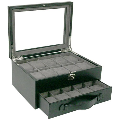 Watch Box Storage Case Leather For 20 Watches With Lucite Window