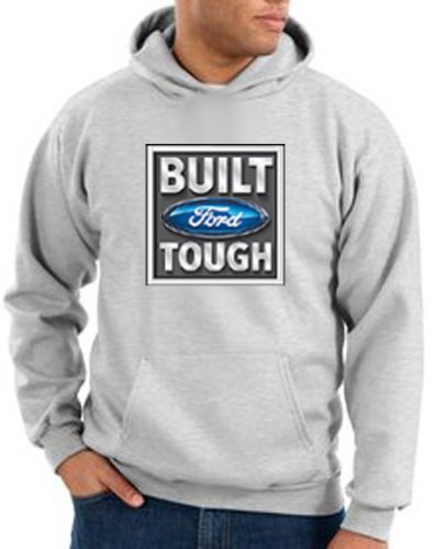 Ford Car BUILT FORD TOUGH Classic Adult Pullover Hooded Sweatshirt Hoodie Hoody - Ash, XL (Ford Hoody compare prices)