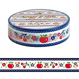 Polish Fruit cherries apples red blue Aimez le style Japanese Washi Tape 15mm x 12 m
