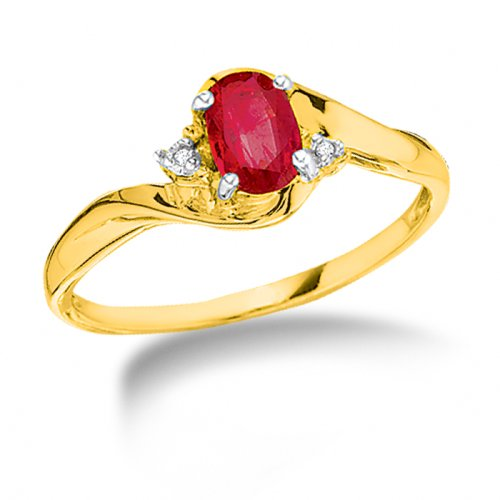Created Ruby Ring 10K Yellow Gold