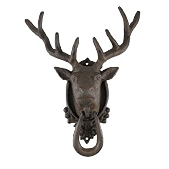 Antiqued Finish 8 Point Buck Deer Door Knocker