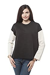 Womens knit top sweater (Large, Black/Ivory)