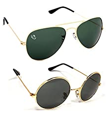 Aventus Combo of Classic Gold Aviator, Round Sunglasses for Men & Women (Unisex)-free size
