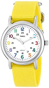 Timex Woman's T2P369 Weekender Yellow Slip-Thru Nylon Strap Watch