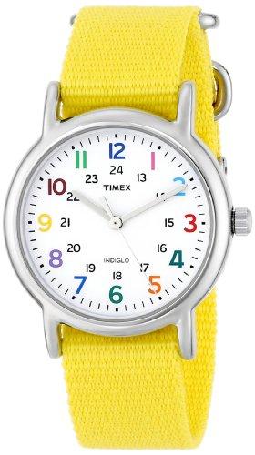 Timex Woman'S T2P369 Weekender Yellow Slip-Thru Nylon Strap Watch front-941289
