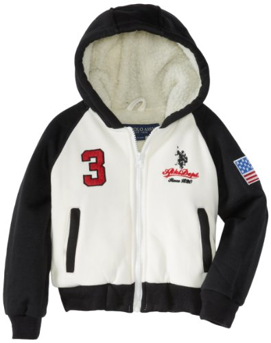 U.S. Polo Association Little Boys' Fleece Jacket With Sherpa Hood And Body Lining, Cream/Black, 4