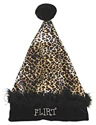 "17"" Sexy Black & Tan Leopard ""Flirt"" Velvet Santa Hat - Size Medium"