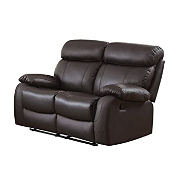 Homelegance Pendu Reclining Loveseat Top Grain Leather Match, Brown