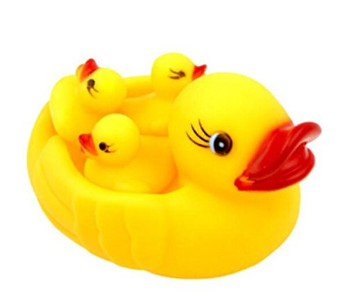 Domire Baby Bath Bathing Toys Rubber Race Squeaky Ducks Yellow - 1