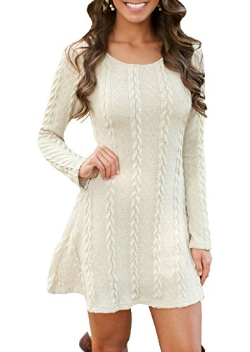 Women's Crewneck Knitted Long Sleeve Sweater Dress
