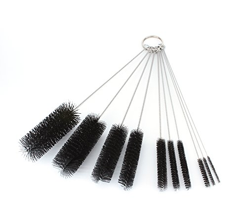 8 Inch Nylon Tube Brush Set - Variety Pack (10 pieces)