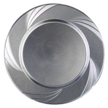 "Newbury Collection 6 1/2"" Silver Plastic Plates, Heavyweight Disposable Cake-Desert Plates 15 Per Pack front-221224"