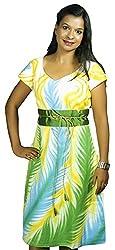 Baja Women's Dress (DS_HS_VN_WTE, White & Green , S)