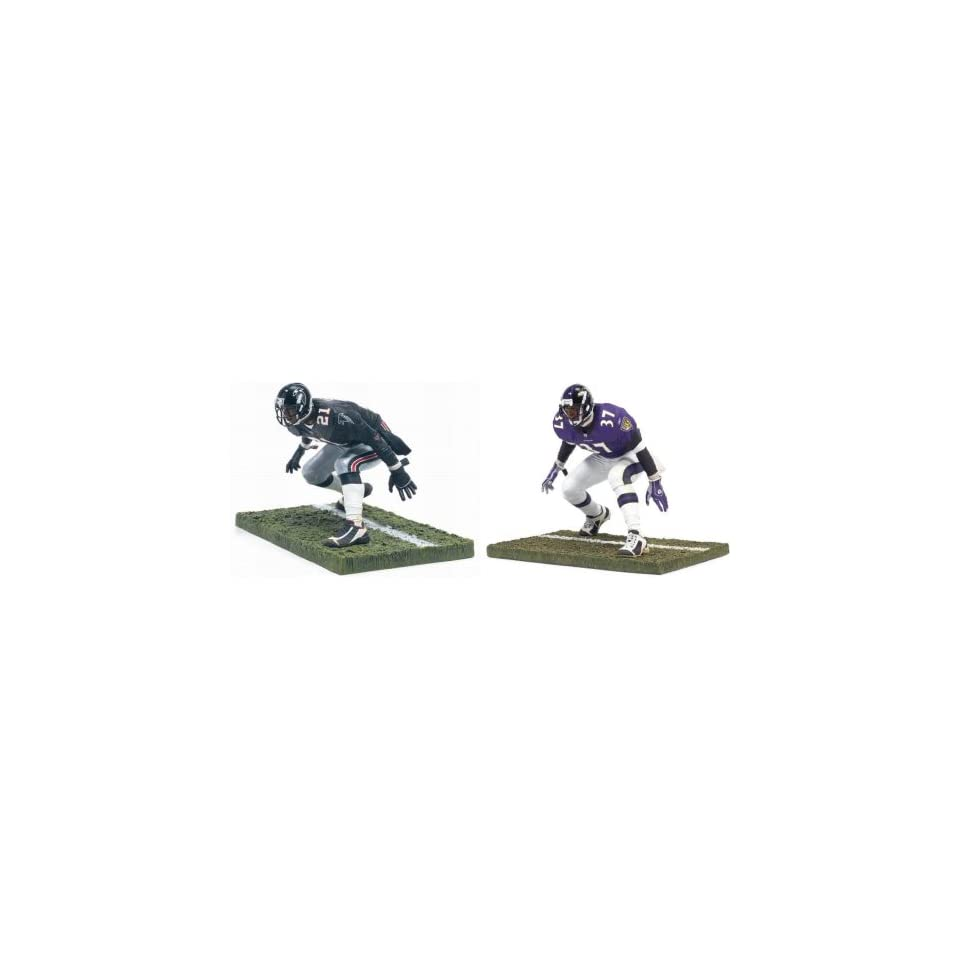 476036dde McFarlane NFL Collectors Club Exclusives Deion Sanders Set Baltimore Ravens  Purple Jersey and Atlanta Falcons Black Jersey