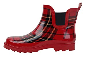 New Sunville Brand Women's Short Ankle Rubber Rain Boots,10 B(M) US,Red Plaid