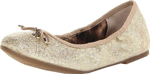 Sam Edelman Girls Fiona Rubber Ballet Flat (Toddler/Little Kid/Big Kid),Gold Flat Glitter,3.5 M Us Big Kid front-304093