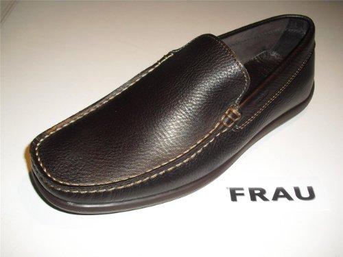 Scarpe Uomo Frau Calzature Pelle Colore Marrone scuro Modello 14L4 Taglia 42