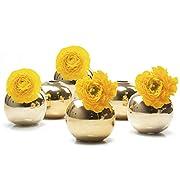 """Chive - Jojo Small 3"""" Sphere Ceramic Bud Vase - Wholesale Bulk 6 Pack - Gold"""