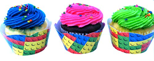 Lego® Themed Cupcake Wrappers 24Pk By Minifigfanstm With Baking Liners - Ready To Use front-385797