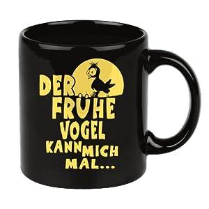 lustige kaffee tasse mit spruch der fr he vogel kann mich mal schwarz k che haushalt. Black Bedroom Furniture Sets. Home Design Ideas