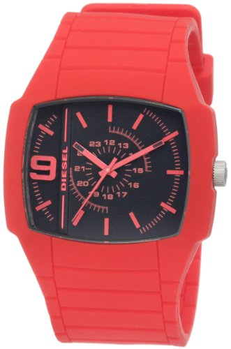 Diesel Men's DZ1351 Bright Red Color Domination Analog Black Dial Watch