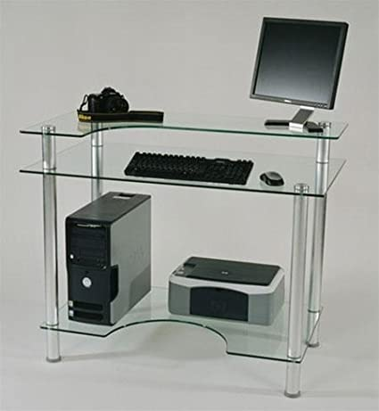 Clear Glass Compact Modern Computer Desk with Countoured Shelf