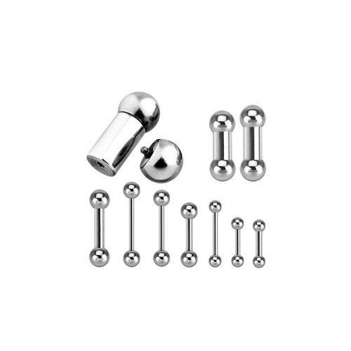 Urban Body Jewellery Internally Threaded Straight Barbells 1.6mm,8mm