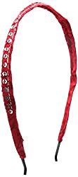 House of Handicrafts Girls' Cotton Hair Clips (HH-34, Red, 12 cm)
