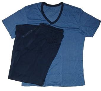 Perry Ellis Men's 2 Piece Pajama Set, Size XL, Blue (#209)