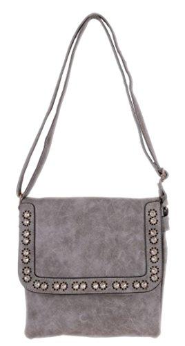 Girly Handbags Women'S Diamante Cross Body Bag -- Grey