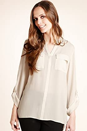 Long Sleeve Twin Pockets Epaulettes Blouse