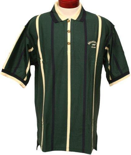 Monterey Club Mens Short Sleeve Vertical Stripe Jersey Shirt #3074 (Evergreen/Navy,X-Large)