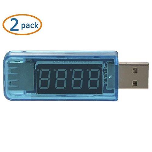 Mudder® Usb Current Voltage Meter Tester Current Monitor For Smartphone Tablet Gadget Usb Charger Solar Panel Battery Charging Status (2 Pack)