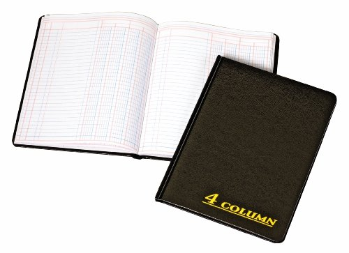 Adams Account Book, 7 x 9.25 Inches, Black, 4-Columns, 80 Pages (ARB8004M)