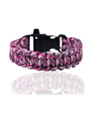 "Aero Sport ""Rebel By Choice, Cool By Nature"" Peppered-Pink-Gray Survival Camping Bracelet"