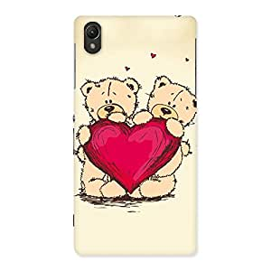 Cute Heart Twin Teddy Back Case Cover for Sony Xperia Z2