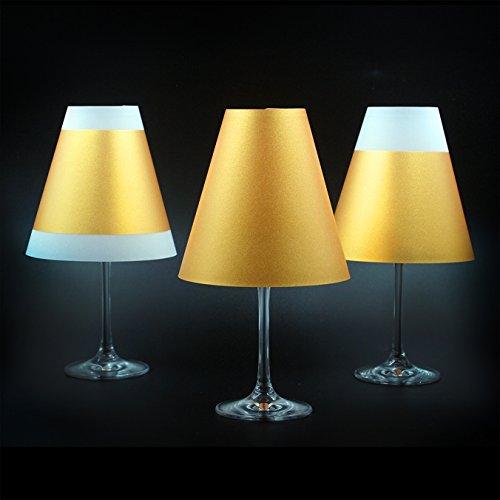 Poetry Light · Goldene paralumi per bicchieri da vino con lumini · in carta trasparente innesto ad uncino · Deko paralumi elaborata nel mano serigrafia