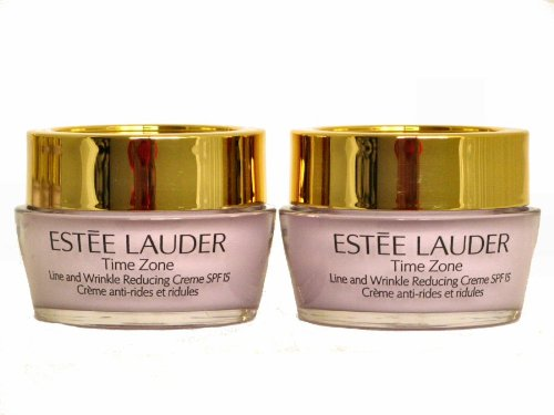Brand-New-2-x-05-oz-Travel-Size-Estee-Lauder-Time-Zone-Line-and-Wrinkle-Reducing-Creme-SPF15-for-Normal-Combination-Skin